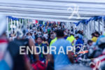 Crowded transition area prior to race start at the Ironman…