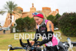 Triathlete in the transition front of a local palace