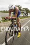 Bertrand Billard, FRA, on the bike at the 2013 Ironman…