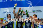 Male and female podium joined  at 2013 Joao Pessoa ITU…