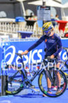 Yuliya Yelistratova (UKR) racks her bike prior to the start…