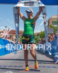 Meredith Kessler at the finish line after winning the 2013…