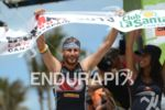 Faris Al-Sultan at the finish of the 2013 Ironman Lanzarote…
