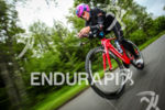 Camilla Pedersen (DEN) in the lead during the bike leg…