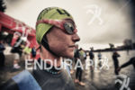 Ashley Cliffod prepares to start the swim at Ironman Coeur…
