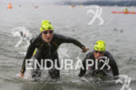 Caitlin Snow and Kathleen Calkins exit the on the swim…