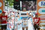 Andreas Raelert celebrating at the finish line of the Ironman…