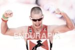 Jan Raphael at the finish line at the Ironman European…