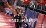 Kristin Moeller at the finish line at the Ironman European…
