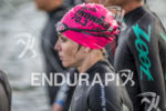 Magali Tisseyre waiting for the start at the 2013 Ironman…