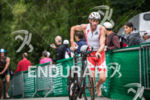 Bevan Docherty leaving T1 at the Ironman 70.3 Vineman Triathlon…