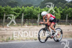 Emma-Kate Lidbury cranks hard on the bike at the Ironman…