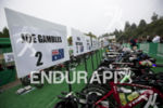 Bikes at the ready in the pro transition area at…