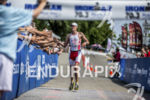 Martin Jensen approaching the finish at the 2013 Ironman Racine…