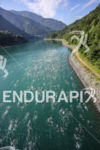 Aerial view of the scenic swim of the Triathlon EDF…