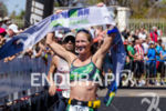 Amanda Stevens celebrates the winning at the 2013 Ironman 70.3…