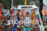 Mirinda Carfrae (Australia) celebrates her victory at the 2013 Ironman…