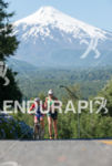 Dede Griesbauer running with the Villarrica Volcano on the background…