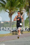 Javier Gomez running fast at the 2014 Ironman 70.3 Panama…