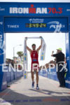 Jan Frodeno (DEU) celebrates victory at the Ironman 70.3 California…