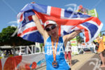 Lucy Gossage at the finsih of the 2014 Ironman Lanzarote…