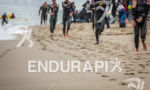 Athletes exit water and run up beach at the 2014…