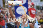 Lisa Huetthaler at the finish of the 2014 Ironman Austria…