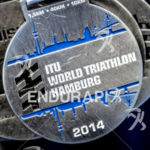 Finisher medal at the 2014 Hamburg World Triathlon in Hamburg,…