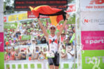 Timo Bracht celebrating at the finish at the 2014 DATEV…