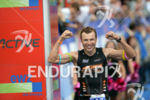 Marek Jaskolka at the finish at the 2014 Ironman Switzerland…