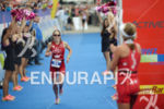 Kristin Moeller at the finish of the 2014 Ironman Switzerland…