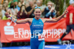 Laura Philipp at the finish of the Ironman 70.3 European…