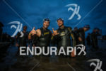 triathletes before the start of the Challenge Vichy, on August…