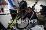 Athletes have their bikes checked at the bike mechanic tent…