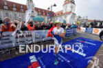 Yvonne Van Vlerken at the finish of the Ironman 70.3…
