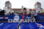 Natascha Schmitt at the finish of the Ironman 70.3 Ruegen…