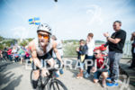 An athlete competes at the 2014 Ironman Wales bike leg…