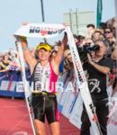 Amy Forshaw wins at the 2014 Ironman Wales in Tenby,…
