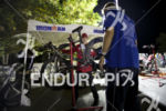 Pre-race bike repair and inspection at the 2014 Ironman Lake…