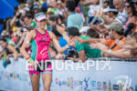 Caroline Gregory finishes the 2014 Ironman Fortaleza in Fortaleza, CE…