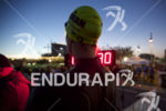 Racers wait for the race start at Ironman Arizona on…