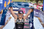Emma Bilham crosses the finish line of the 2015 Ironman…