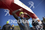 Heather Jackson prepares for the swim start at Wildflower Long…