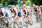 Athletes competes on the bike stage at the 2015 London…