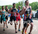 Alistair Brownlee leads the pack on the run stage at…