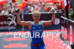 Julia Gajer at the finish of the Ironman 70.3  Kraichgau…