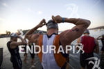 James Lubinski prepares for the swim start at Ironman Coeur…
