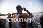 Barrett Brandon prepares for the swim start at Ironman Coeur…