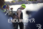 Olesya Prystayko lines up to start the swim leg at…