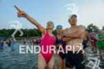 age group athletes before the swim start of Ironman European…